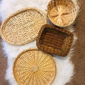 Set of 4 wicker baskets for basket wall boho home